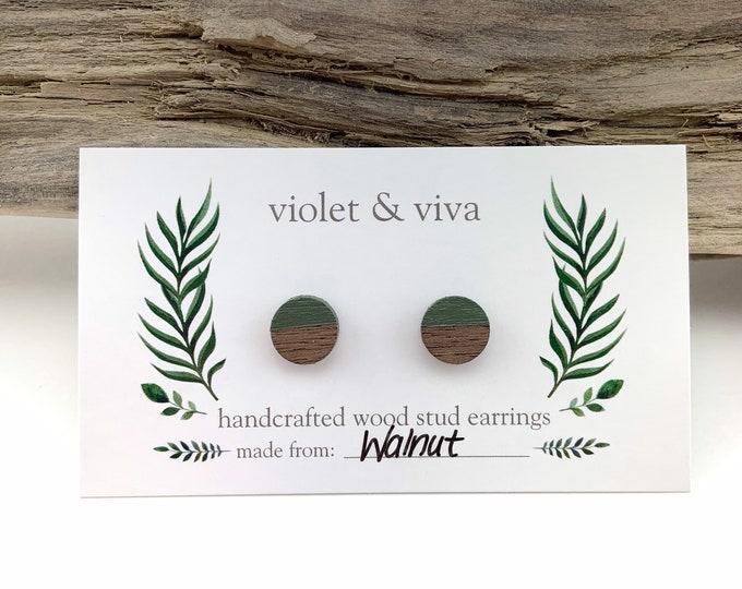 Dipped Walnut Wood Stud Earrings - Sage