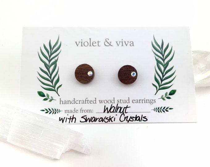 Walnut Wood Stud Earrings with Swarovski Crystals