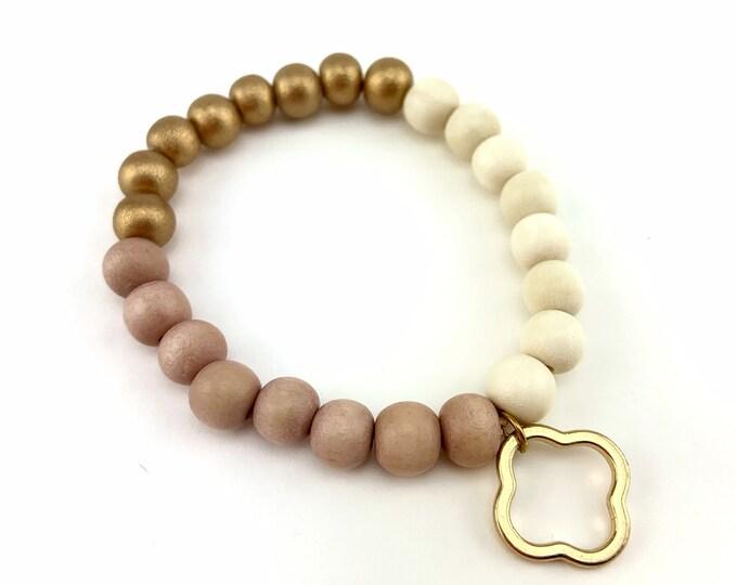 Wood Bead Bracelet with Gold Quatrefoil Charm