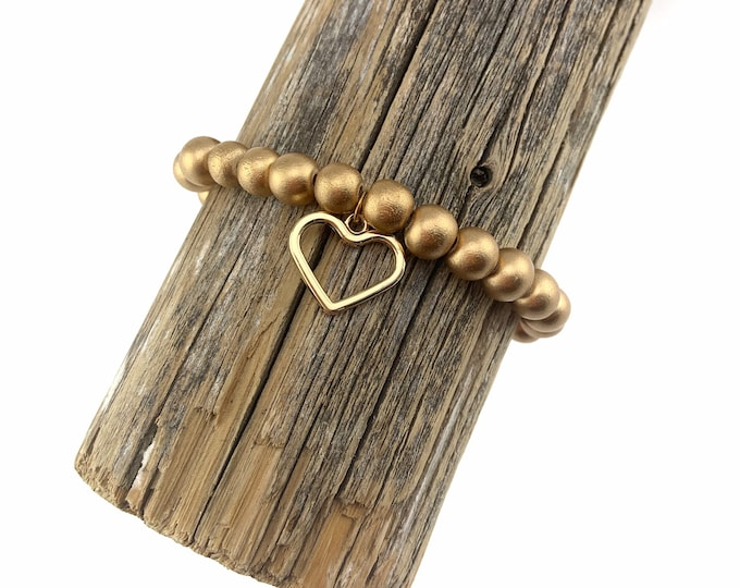 Wood Bead Bracelet with Gold Heart Charm