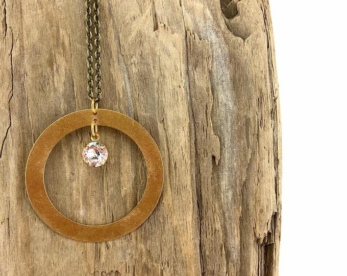 Brass Circle Pendant + Swarovski Necklace