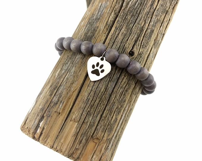 Wood Bead Bracelet with Stainless Steel Paw Charm