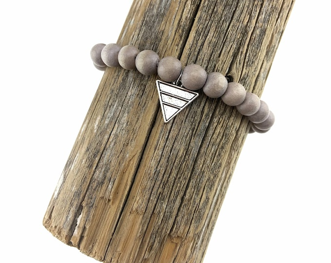 Wood Bead Bracelet with Antique Silver Triangle Charm