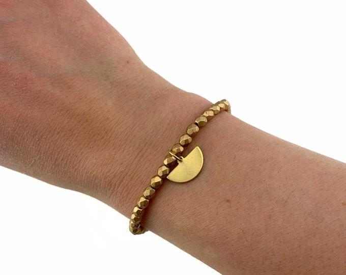 Matte Gold Czech Bead Bracelet with Half Moon Charm