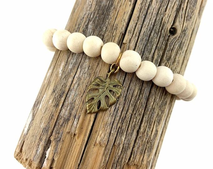 Wood Bead Bracelet with Monstera Leaf Charm