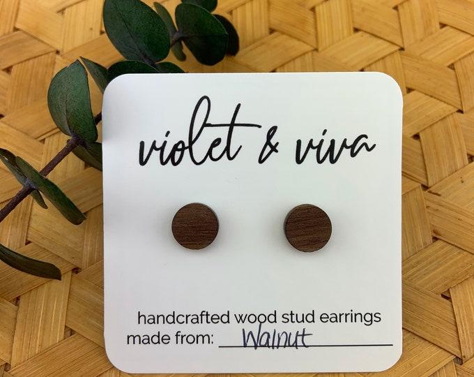 Walnut Wood Stud Earrings