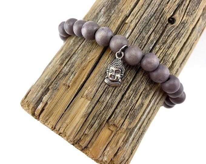 Wood Bead Bracelet with silver Buddha charm