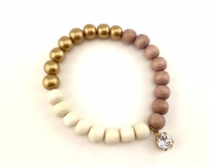 Wood Bead Bracelet with Swarovski crystal charm