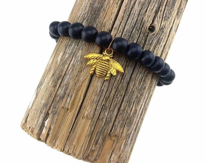 Wood Bead Bracelet with Bee Charm