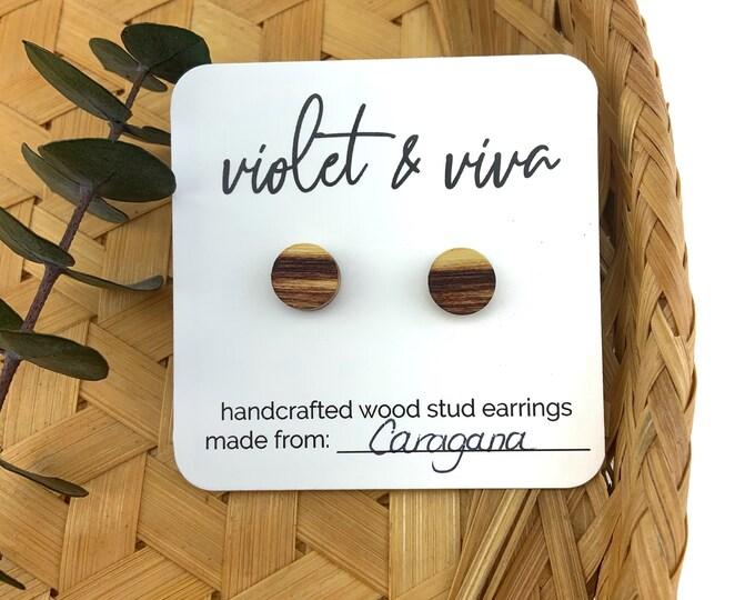 Caragana Wood Stud Earrings