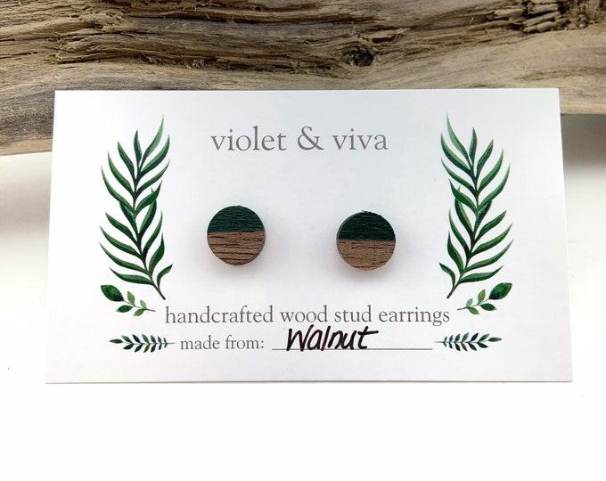 Dipped Walnut Wood Stud Earrings - Evergreen