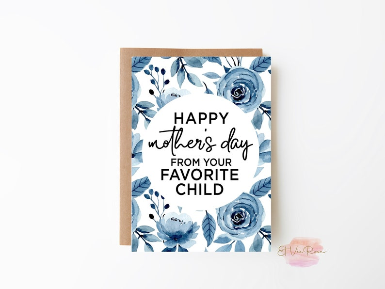 Mothers Day Favorite Child Greeting Card Printable Card PDF image 0