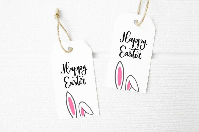 Easter Bunny Happy Easter Favor Tags Printable INSTANT image 0