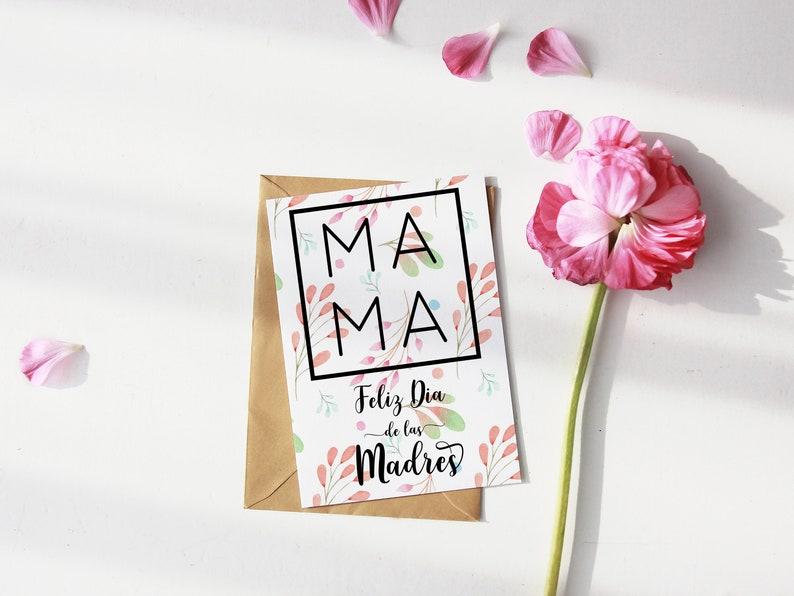 Dia de las Madres Spanish Printable Card for Mom Greeting image 0