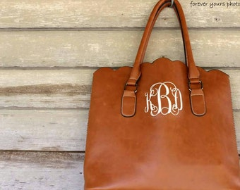 Monogrammed Scalloped Purse- Brown- Hobo Bag- Tote- Purse