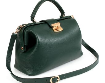 Green leather bag   Etsy