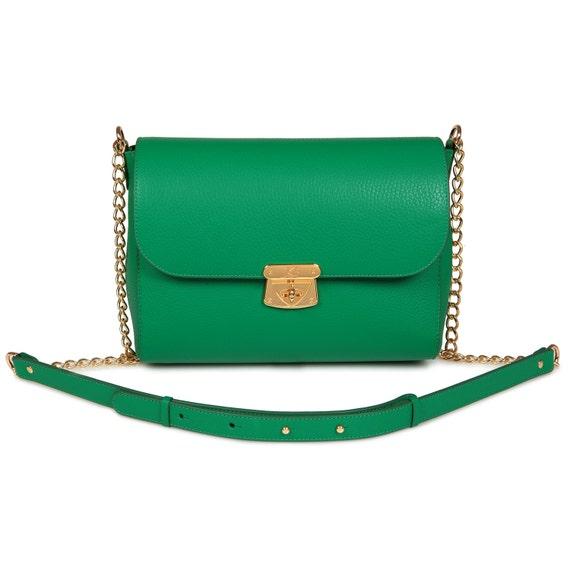 Leather Crossbody Bag, Green Leather Shoulder