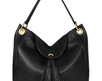Leather Hobo Bag, Black Leather Hobo Bag, Women's Leather Hobo Purse KF-129