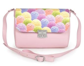 Leather Cross body Bag, Pink Leather Shoulder Bag, Women's Leather Crossbody Bag, Leather bag KF-964