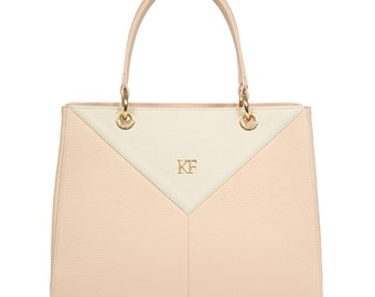 Leather Top Handle Bag, Beige Leather Handbag Top Handle, Women's Leather Bag KF-547
