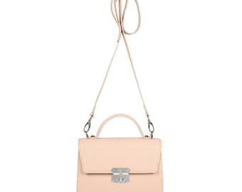Leather Cross body Bag, Beige Leather Shoulder Bag, Women's Leather Crossbody Bag, Leather bag KF-1161