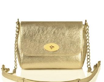 Leather Crossbody Bag, Gold Leather Shoulder Bag, Women's Leather Cross body Bag, Leather bag KF-234