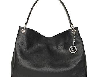 Leather Hobo Bag, Black Leather Hobo Bag, Women's Leather Hobo Purse KF-1066