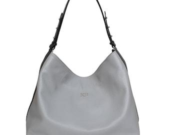 Leather Hobo Bag, Grey Leather Hobo Bag, Women's Leather Hobo Purse KF-705