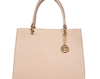 Leather Top Handle Bag, Beige Leather Handbag Top Handle, Women's Leather Bag KF-337