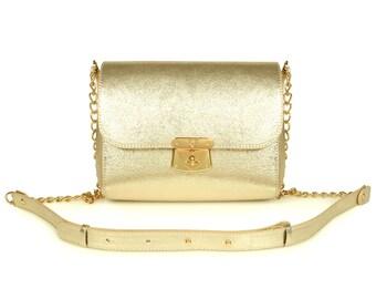 Leather Crossbody Bag, Gold Leather Shoulder Bag, Women's Leather Cross body Bag, Leather bag KF-841