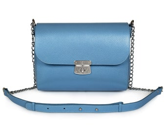 Leather Cross body Bag, Blue Leather Shoulder Bag, Women's Leather Crossbody Bag, Leather bag KF-1011