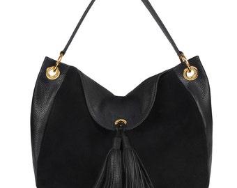 Leather Hobo Bag, Black Leather Hobo Bag, Women's Leather Hobo Purse KF-135