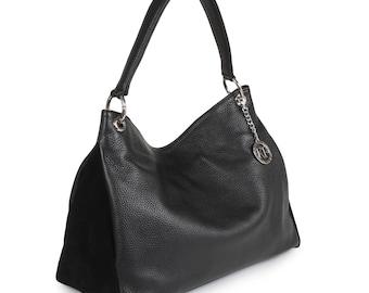 Leather Hobo Bag, Black Leather Hobo Bag, Women's Leather Hobo Purse KF-1411