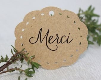 """Oval kraft """"Thank You"""" Labels for Guest Gift"""