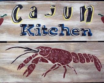 Cajun Kitchen Crawfish New Orleans Primitive Rustic Wood Sign Wall Home Decor