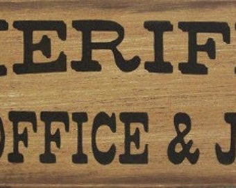 Sheriffu0027s Office U0026 Jail Western Primitive Rustic Distressed Country Wood  Sign Home Decor