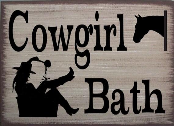 Cowboy//Cowgirl Western Bath You Pick Rustic Canvas Home Decor Signs