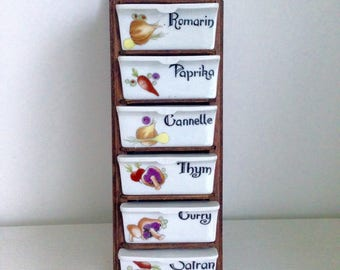 Spice rack vintage wooden and porcelain with illustrations. 70's.