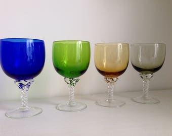 This glass of wine glass stained 4 colors. From the 60s