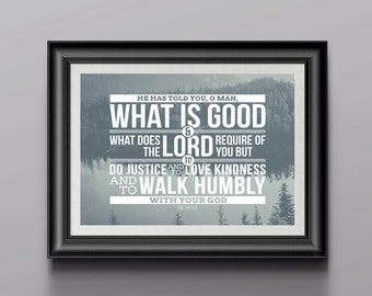 Scripture Art - Micah 6:8  - 8 x 10 Printable - Digital Download - Photo & Blue