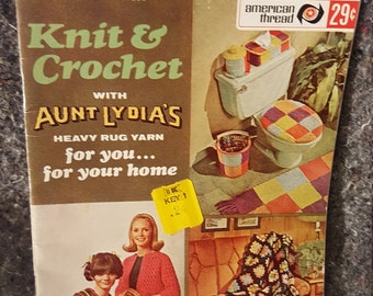 Star Book #203 KNIT & CROCHET with Aunt Lydias Heavy Rug Yarn Pattern Book 1970s