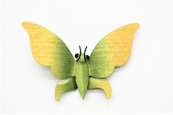 Great Vtg Huge Textured Butterfly Brooch with Gree