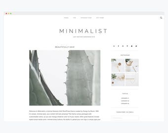 "WordPress Theme- Minimalist Blog Ecommerce Theme- Genesis Theme- WordPress Website- Fashion Blogger Theme- ""Minimalist"" Instant Download"