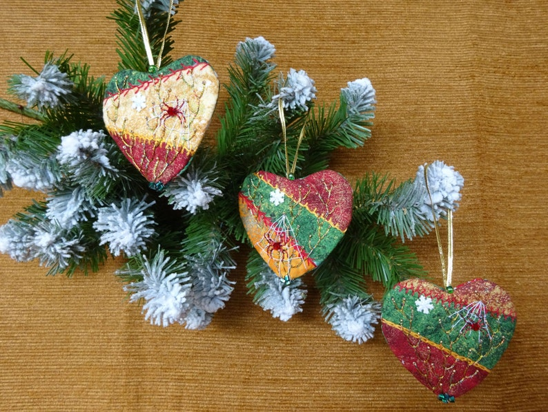 Christmas Heart Crazy Quilt Ornaments Christmas Decoration Etsy