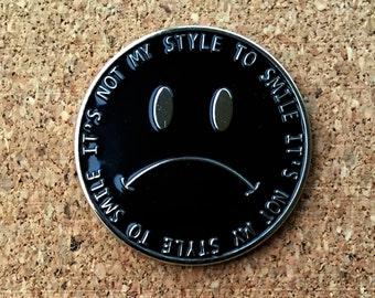 Frown Face Enamel Pin