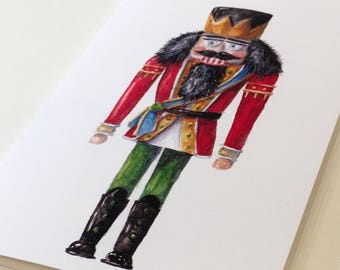 Red and Green Nutcracker King - Christmas Holiday Cards