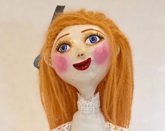 Handmade Pretty Girl Art Doll in White - Ooak Art Doll