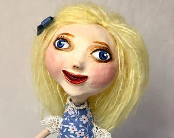 Handmade Pretty Girl Art Doll in Blue -  Ooak Art Doll