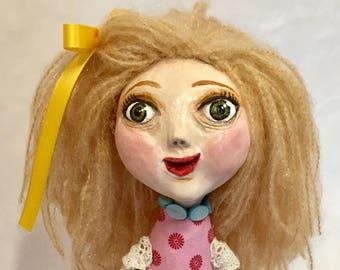 Handmade Pretty Girl Art Doll in Pink - Ooak Art Doll