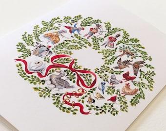 12 days of Christmas Wreath - Christmas Holiday Cards